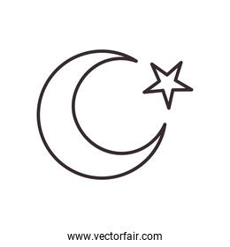 Turkish moon with star line and fill style icon vector design