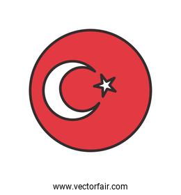 Turkish flag in button shaped line and fill style icon vector design
