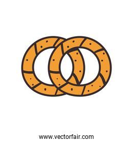 Turkish bagels line and fill style icon vector design