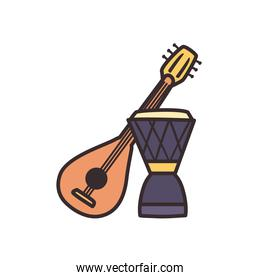 turkish guitar and drum line and fill style icon vector design