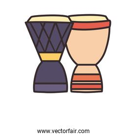 turkish drums line and fill style icon vector design