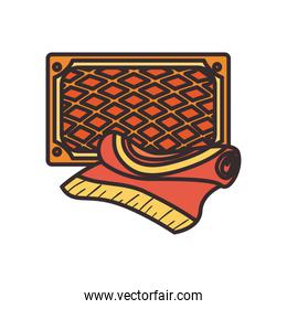 Turkish carpets line and fill style icon vector design