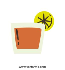 tequila shot with lemon free form style icon vector design
