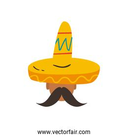 mexican man with mustache and hat free form style icon vector design