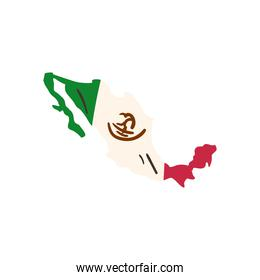 mexican flag in map shaped free form style icon vector design