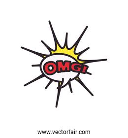 omg explosion bubble line and fill style icon vector design