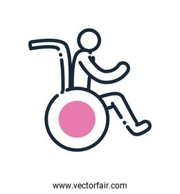 man on wheelchair line and fill style icon vector design