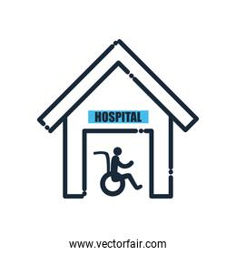 man on wheelchair in hospital line and fill style icon vector design