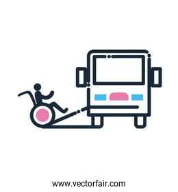 bus and man on wheelchair on ramp line and fill style icon vector design
