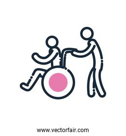 man helping other on wheelchair line and fill style icon vector design