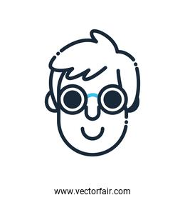 blind man head with glasses line and fill style icon vector design