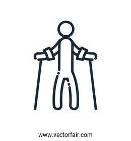 man with crutches line and fill style icon vector design