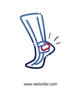 leg with ankle problem gradient style icon vector design