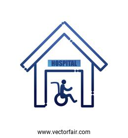 man on wheelchair in hospital gradient style icon vector design