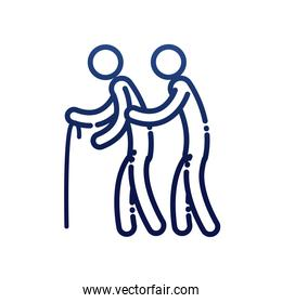man helping other with cane gradient style icon vector design