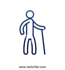 man with cane gradient style icon vector design