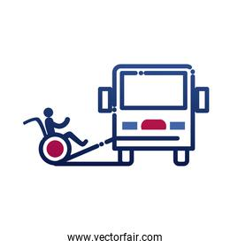 bus and man on wheelchair on ramp gradient style icon vector design