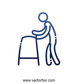 man with walker gradient style icon vector design