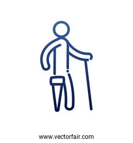 man with cane and leg prosthesis gradient style icon vector design