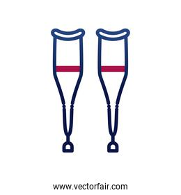 crutches gradient style icon vector design