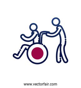 man helping other on wheelchair gradient style icon vector design