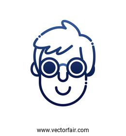 blind man head with glasses gradient style icon vector design