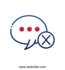 mute bubble with cross circle gradient style icon vector design