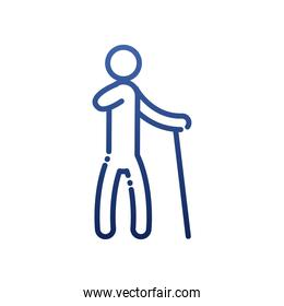 armless man with cane gradient style icon vector design