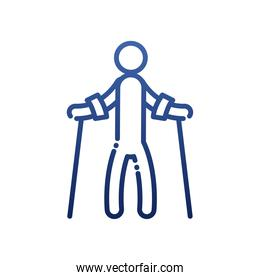 man with crutches gradient style icon vector design