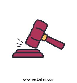 law hammer line and fill style icon vector design