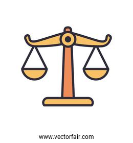 law balance scale line and fill style icon vector design
