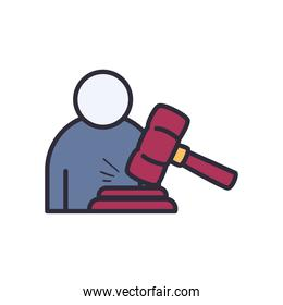 lawyer with hammer line and fill style icon vector design