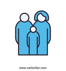 Mother father and son avatars line and fill style icon vector design