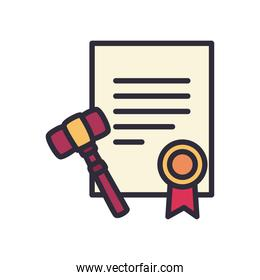 document with seal stamp and hammer line and fill style icon vector design
