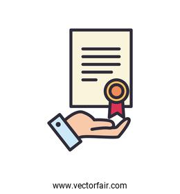 document with seal stamp line and fill style icon vector design
