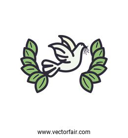 dove with leaves wreath line and fill style icon vector design