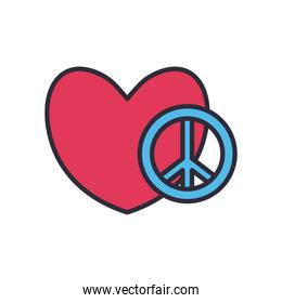 peace and love with heart line and fill style icon vector design