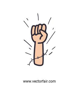 fist hand line and fill style icon vector design