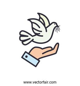 dove over hand line and fill style icon vector design