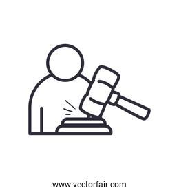 lawyer with hammer line style icon vector design