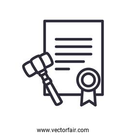 document with seal stamp and hammer line style icon vector design