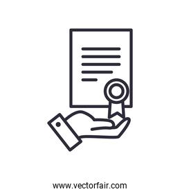 document with seal stamp line style icon vector design