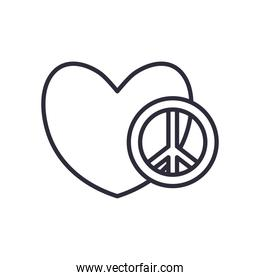 peace and love with heart line style icon vector design