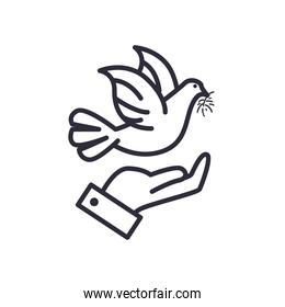 dove over hand line style icon vector design