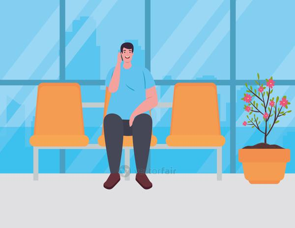 man sitting in chair on the airport terminal, passenger at airport terminal