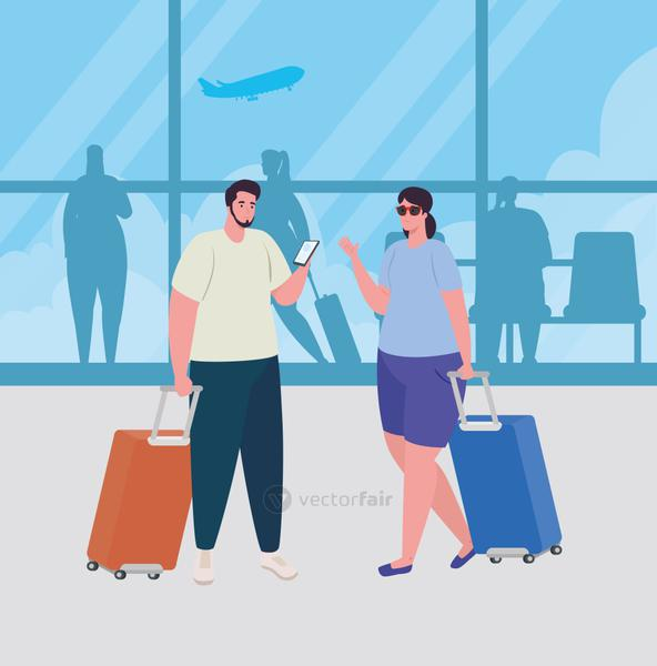 couple in the airport terminal, passengers at airport terminal with baggages