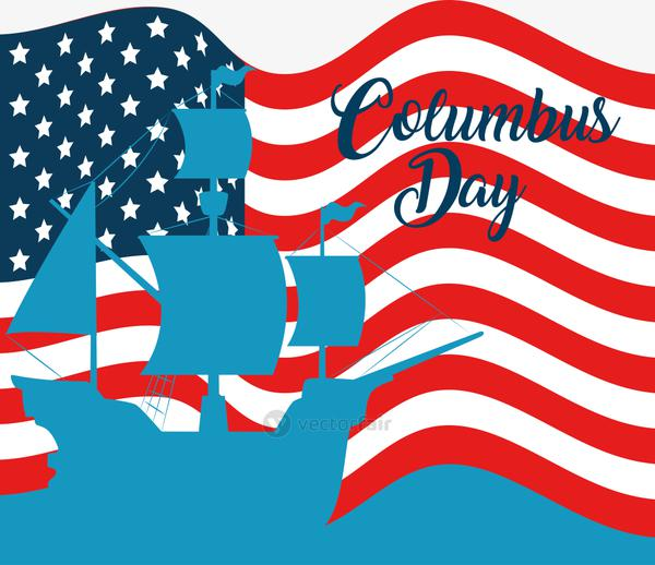 Happy columbus day national usa holiday, with silhouette ship carabela on  background flag united states of america   Download Vectors, Icons, Images  & Illustrations