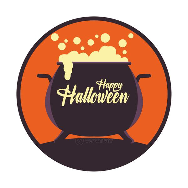 happy halloween card with witch cauldron