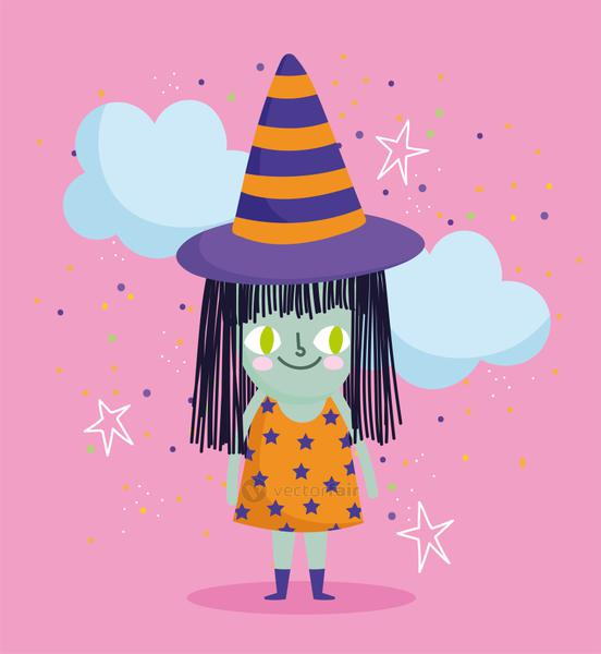 happy halloween, witch costume clouds and cobweb trick or treat party celebration