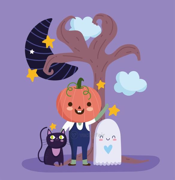 happy halloween, boy with pumpkin costume ghost cat moon night trick or treat party celebration